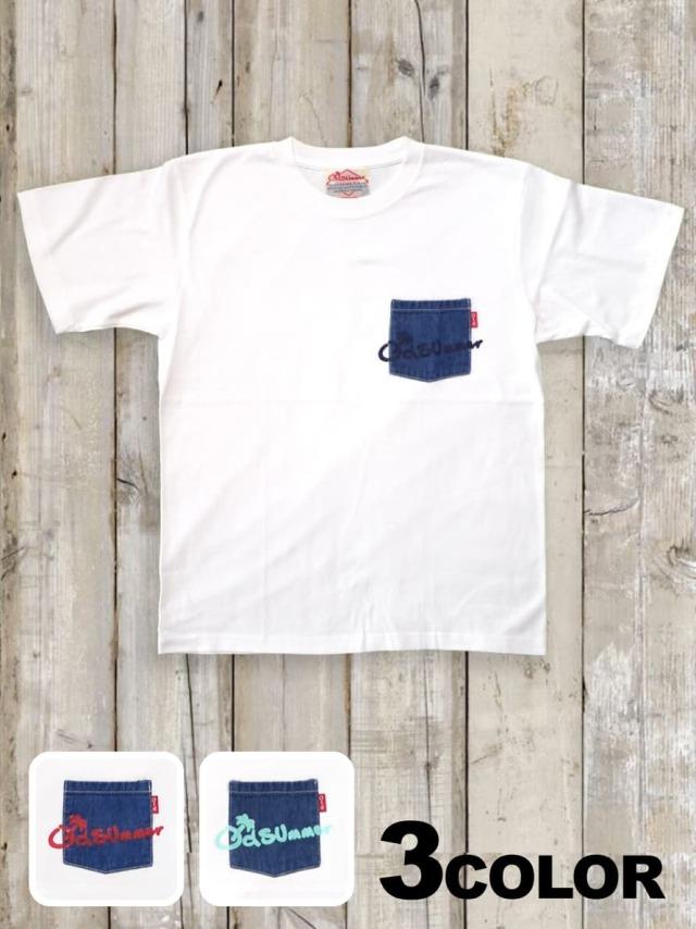 デニムポケットTシャツ(プリント)/白