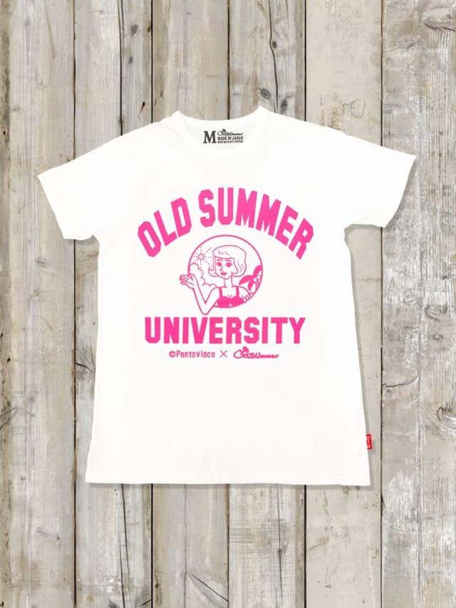 クルーネックTシャツ(OLDSUMMER UNIVERSITY)/蛍光ピンク