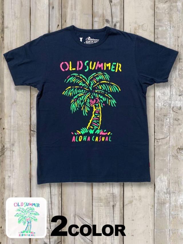 クルーネックTシャツ(蛍光ヤシの木)