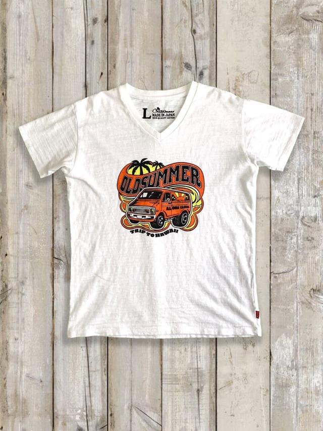 スラブVネックTシャツ(ALOHA CAR)
