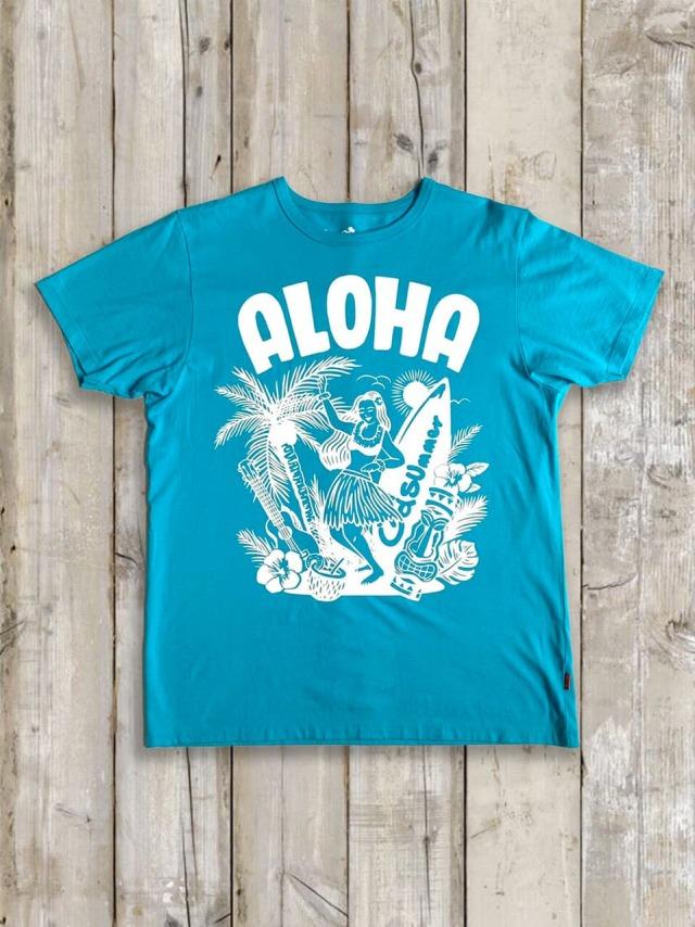 クルーネックTシャツ(ALOHA) / ターコイズ