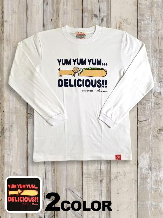 クルーネックロングスリーブTシャツ(HOT DOG DOG)