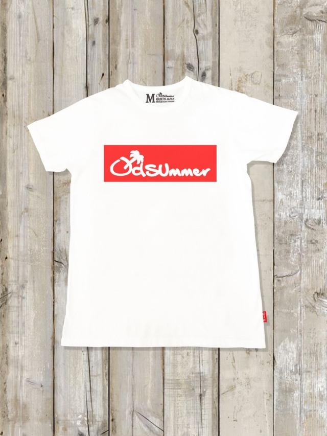 クルーネックTシャツ(BOX LOGO/WHITE×RED)