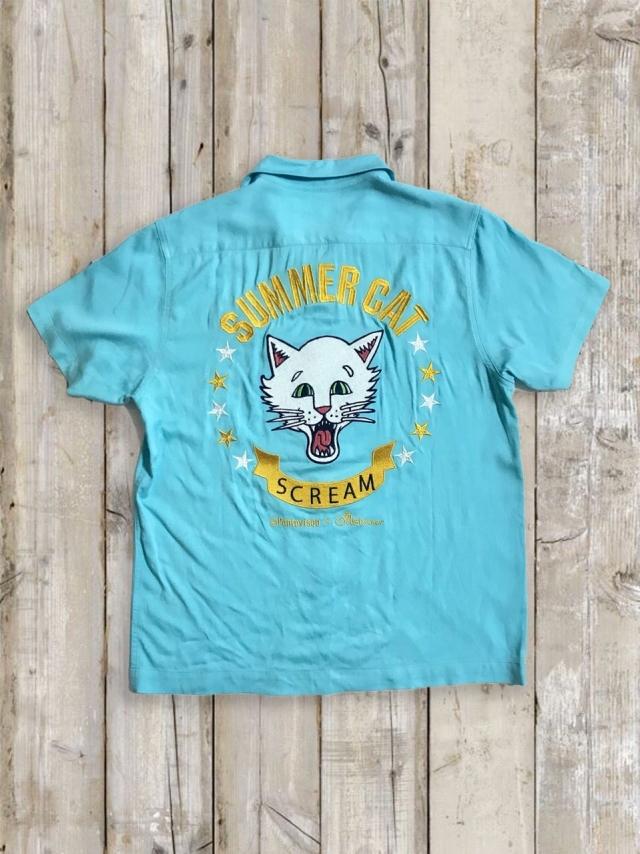 ボーリングシャツ(SUMMER CAT/水色)
