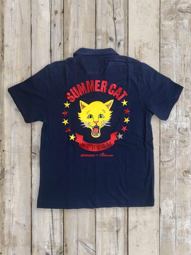 ボーリングシャツ(SUMMER CAT/紺)