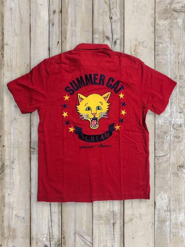 ボーリングシャツ(SUMMER CAT/赤)