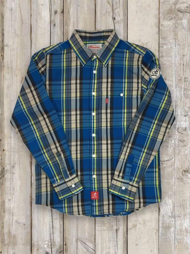 長袖チェックシャツ(ブルー)