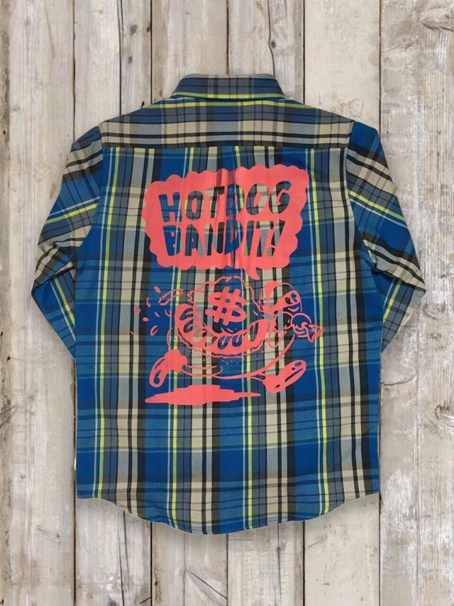 長袖チェックシャツ(ブルー/バックプリント)