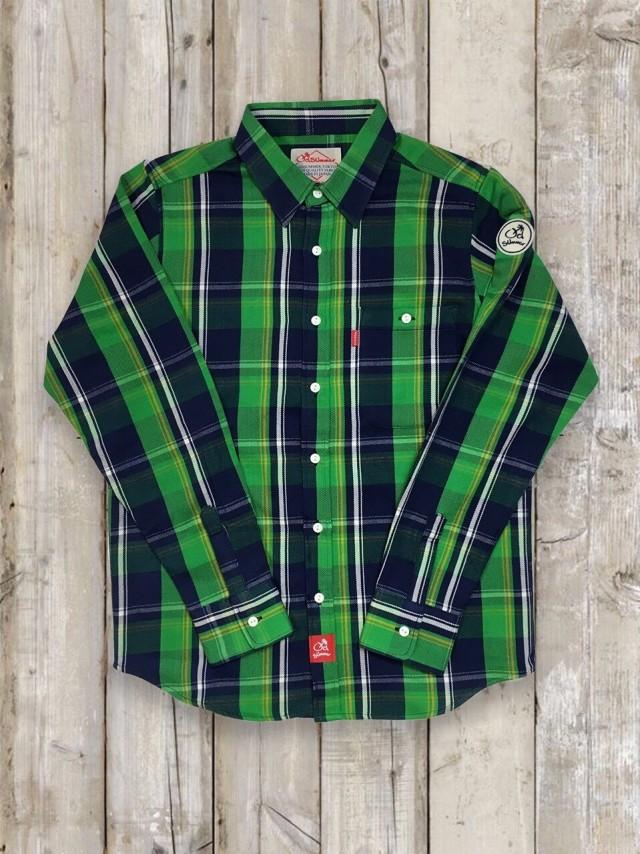 長袖チェックシャツ(緑)