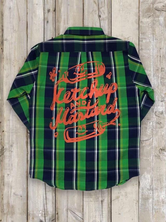 長袖チェックシャツ(緑/バックプリント)