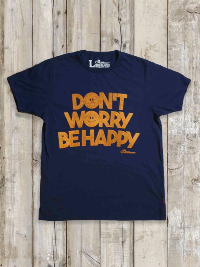 クルーネックTシャツ(DON'T WORRY BE HAPPY/紺)