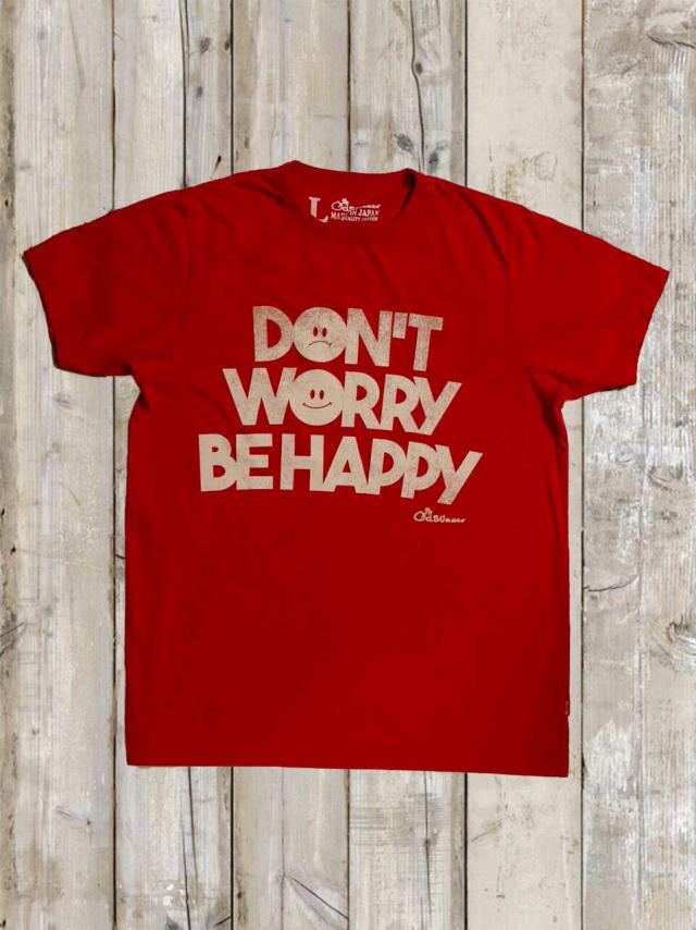 クルーネックTシャツ(DON'T WORRY BE HAPPY/赤)