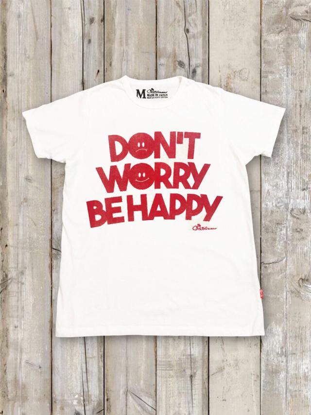 クルーネックTシャツ(DON'T WORRY BE HAPPY/白)