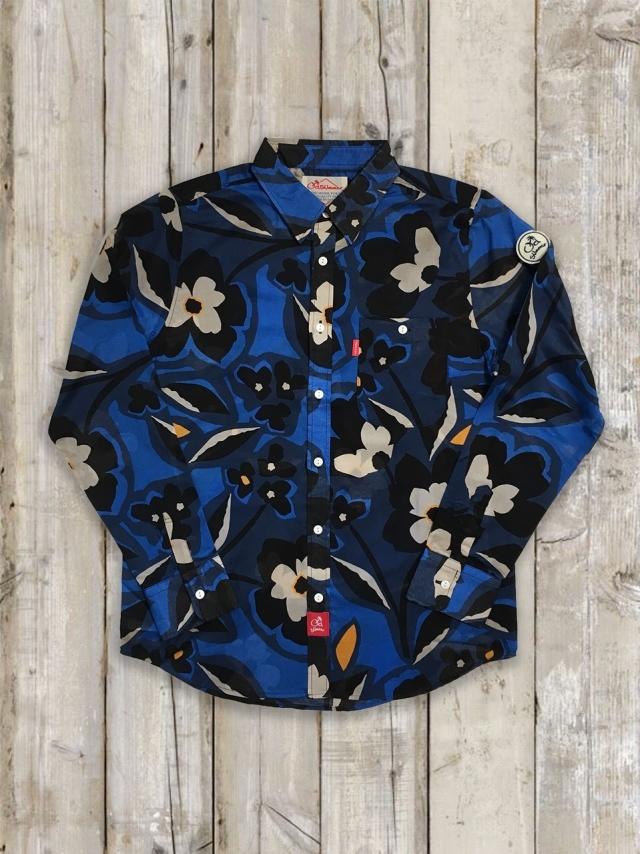長袖ローンシャツ(花柄/青)