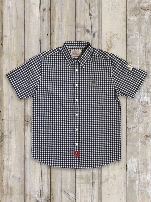 半袖ギンガムチェックシャツ(ネイビー)
