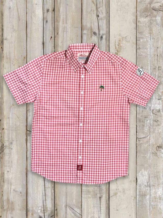 半袖ギンガムチェックシャツ(ピンク)