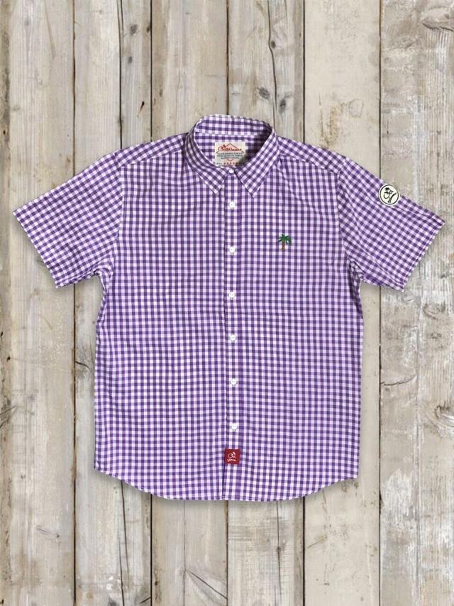 半袖ギンガムチェックシャツ(パープル)