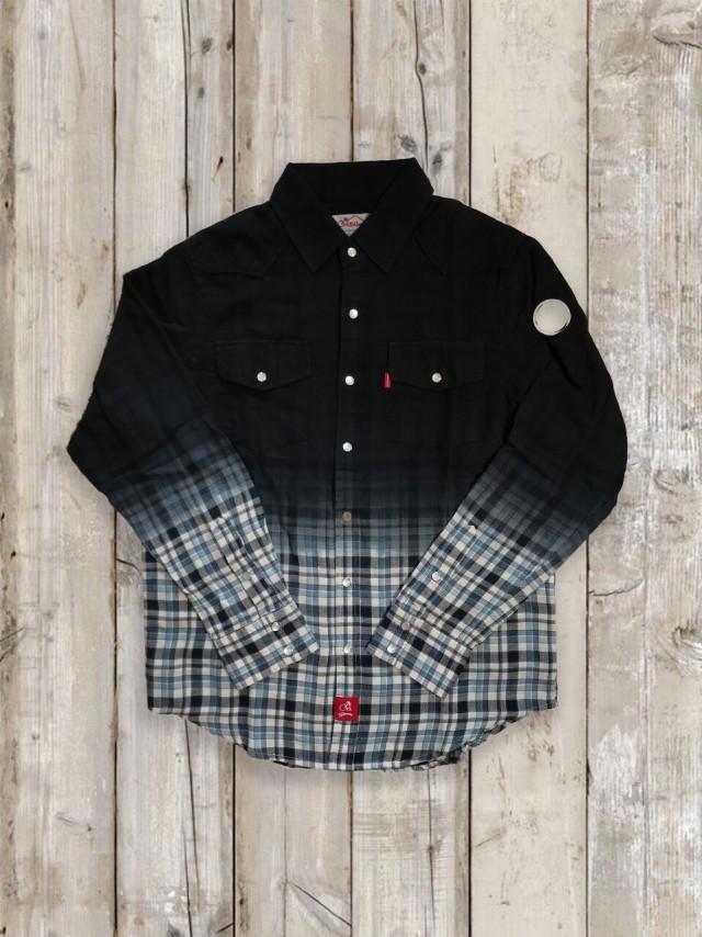 手染めグラデーション×チェックシャツ(黒)