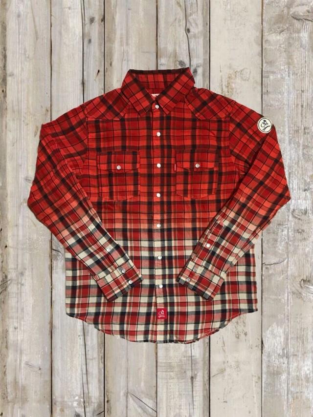 手染めグラデーション×チェックシャツ(赤)