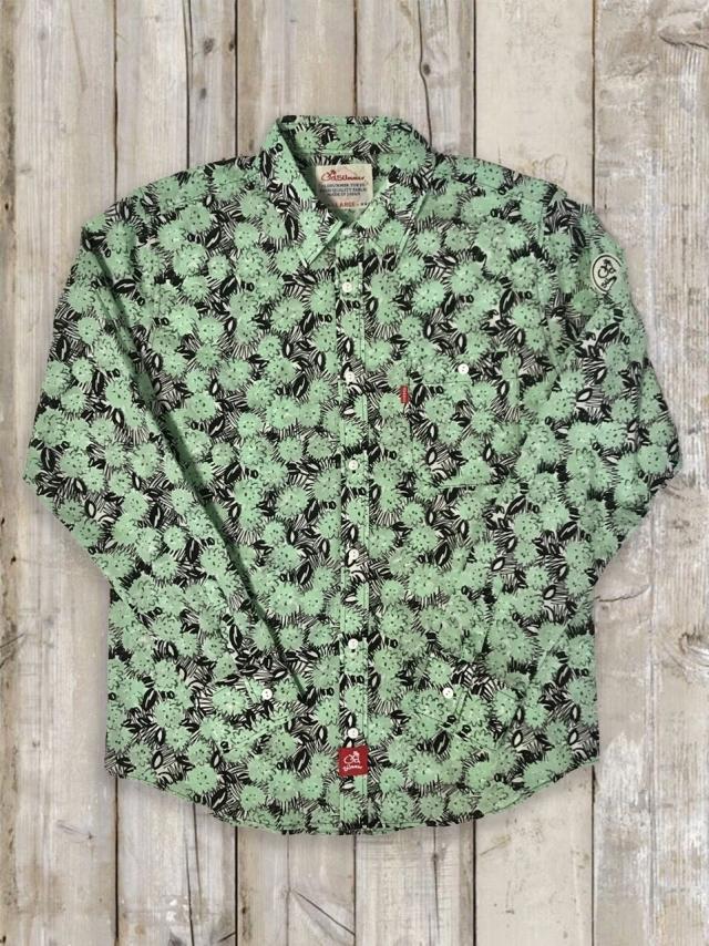 長袖シャツ(花柄/緑)