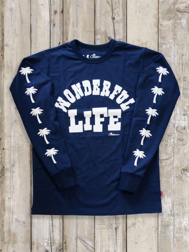 クルーネックロングスリーブTシャツ(WONDERFUL LIFE/紺)