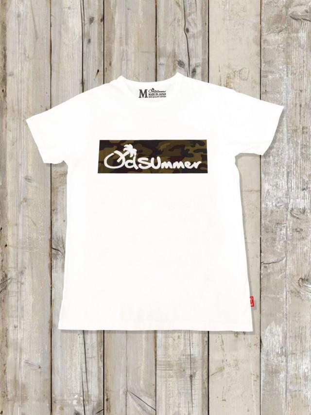 クルーネックTシャツ(BOX LOGO/WHITE×迷彩)