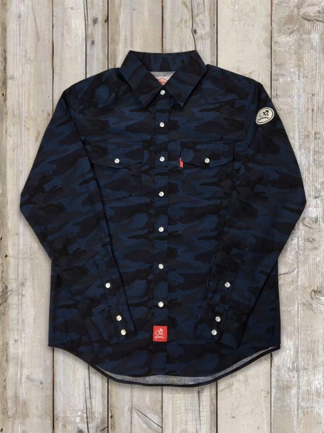 迷彩ウエスタンシャツ(紺)