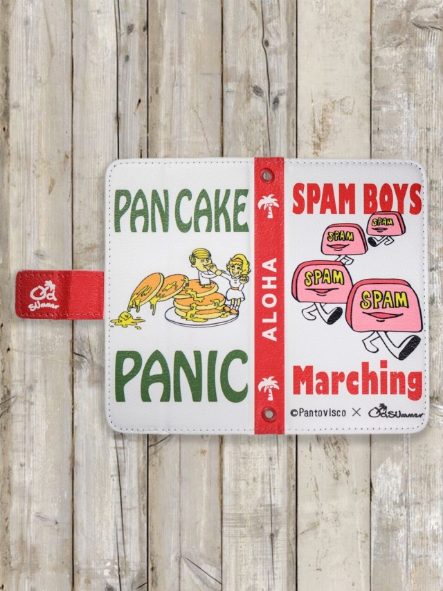 スマホケース(手帳型/スパムボーイマーチング&パンケーキパニック)全機種対応用
