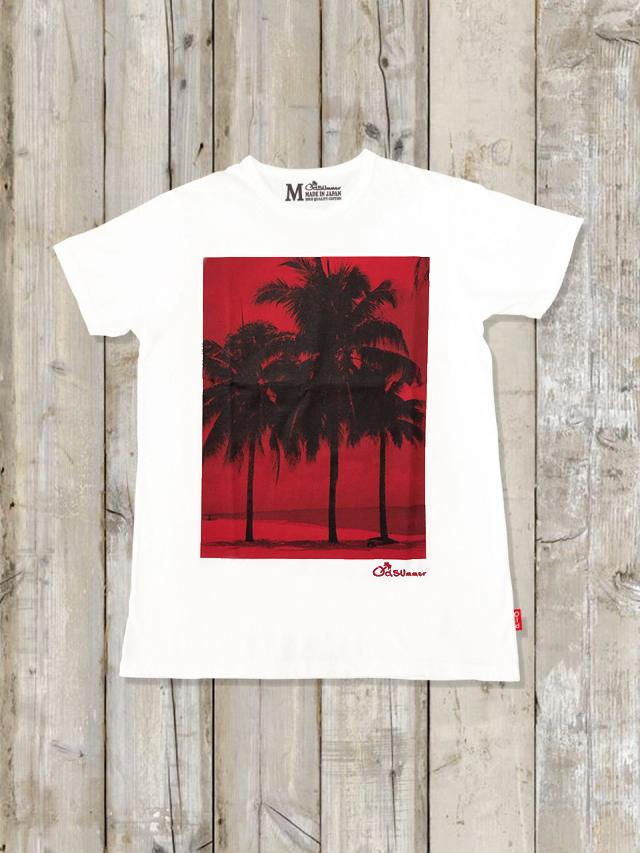クルーネックTシャツ(SUNSET PALMTREE)
