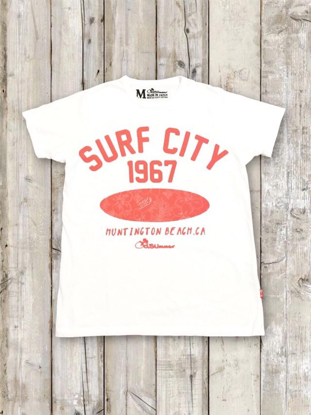 クルーネックTシャツ(SURF CITY/蛍光ピンクオレンジ)