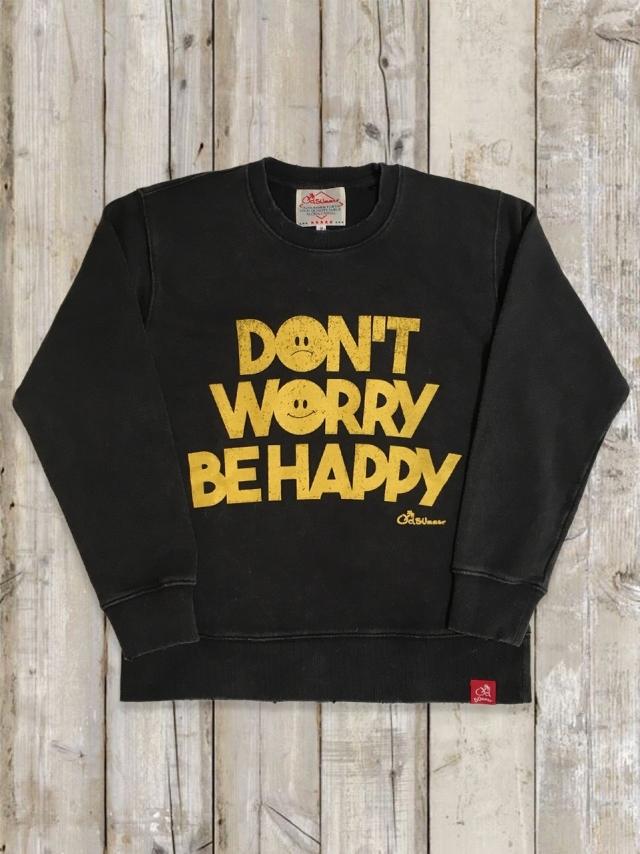 ヴィンテージ加工トレーナー(DON'T WORRY BE HAPPY/黒)