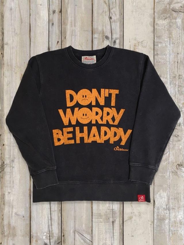 ヴィンテージ加工トレーナー(DON'T WORRY BE HAPPY/紺)