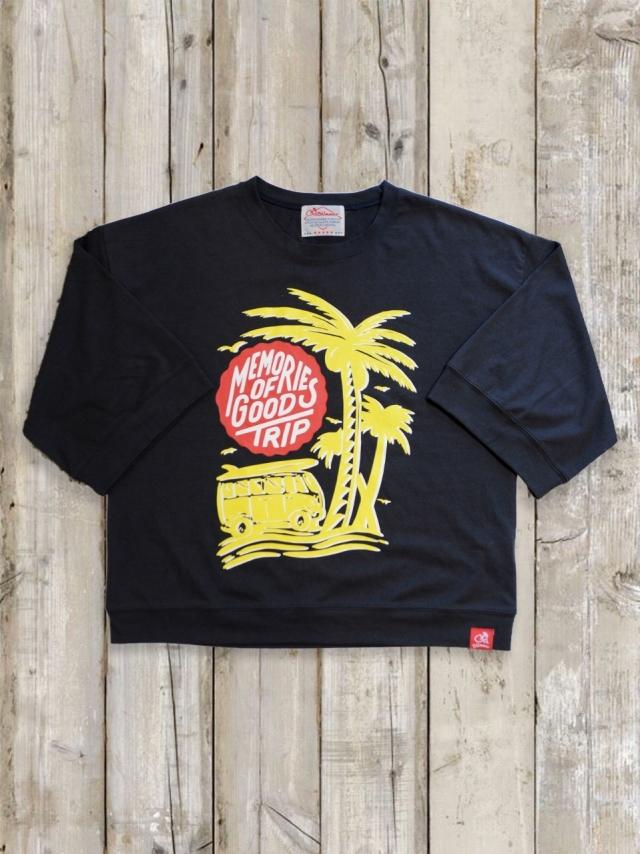 7分丈ワイドスリーブTシャツ(MEMORIES OF GOOD TRIP/チャコールグレー)
