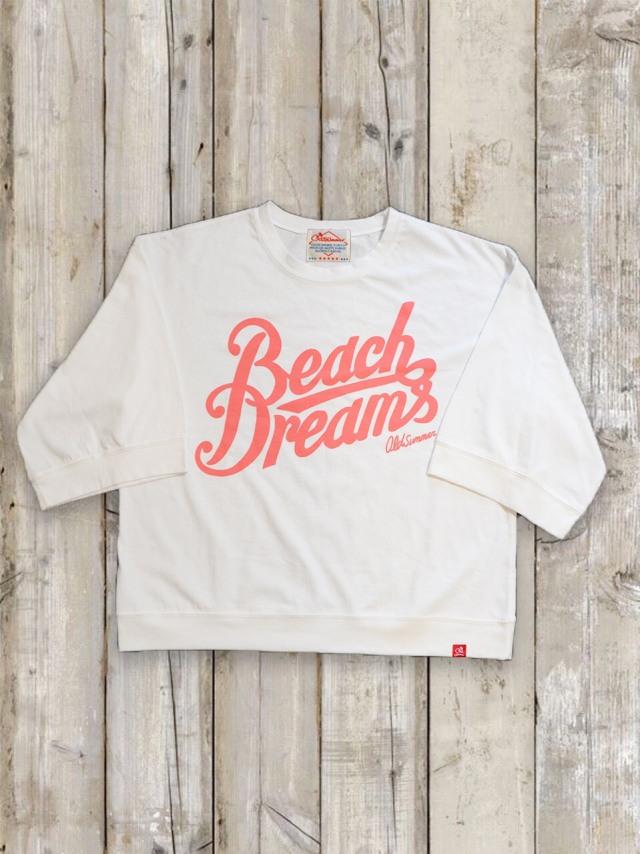 7分丈ワイドスリーブTシャツ(Beach Dreams/ホワイト)
