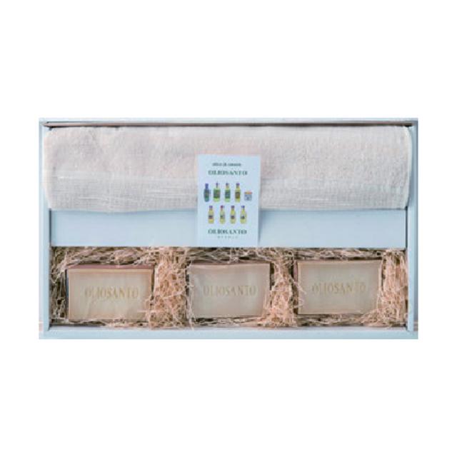 オーガニックリネンコットン ヘリンボンガーゼバスタオルと石鹸セット