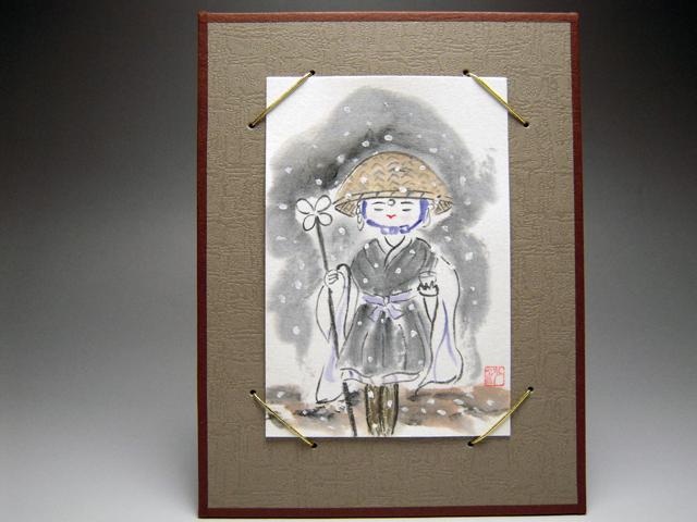 俳画 雪の中の托鉢尼