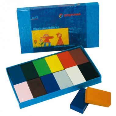 みつろうブロッククレヨン 12色紙箱のイメージ1