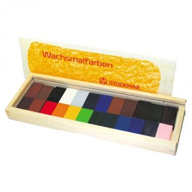 みつろうブロッククレヨン 24色木箱のイメージ1