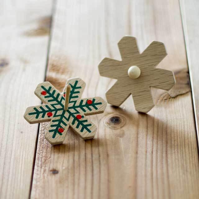 木製コマ クリスマス レッド