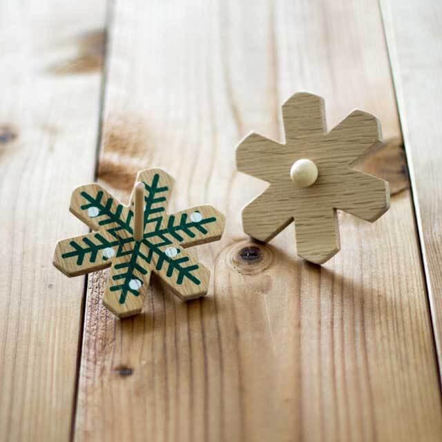 木製コマ クリスマス・ホワイト