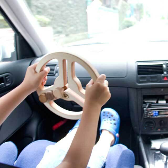 車の中でハンドル遊びをしている