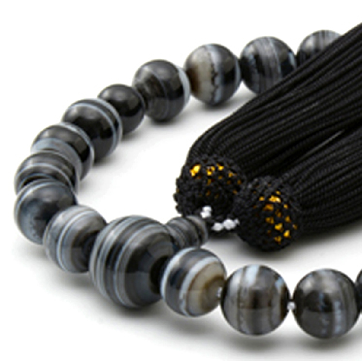男性用 片手数珠 縞オニキス22玉 共仕立 正松房 日本製