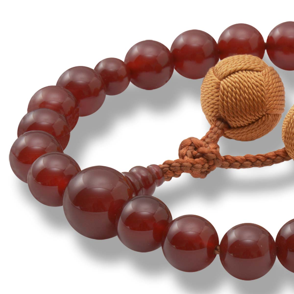 男性用 片手数珠 本瑪瑙22玉 共仕立 釈迦梵天房 日本製