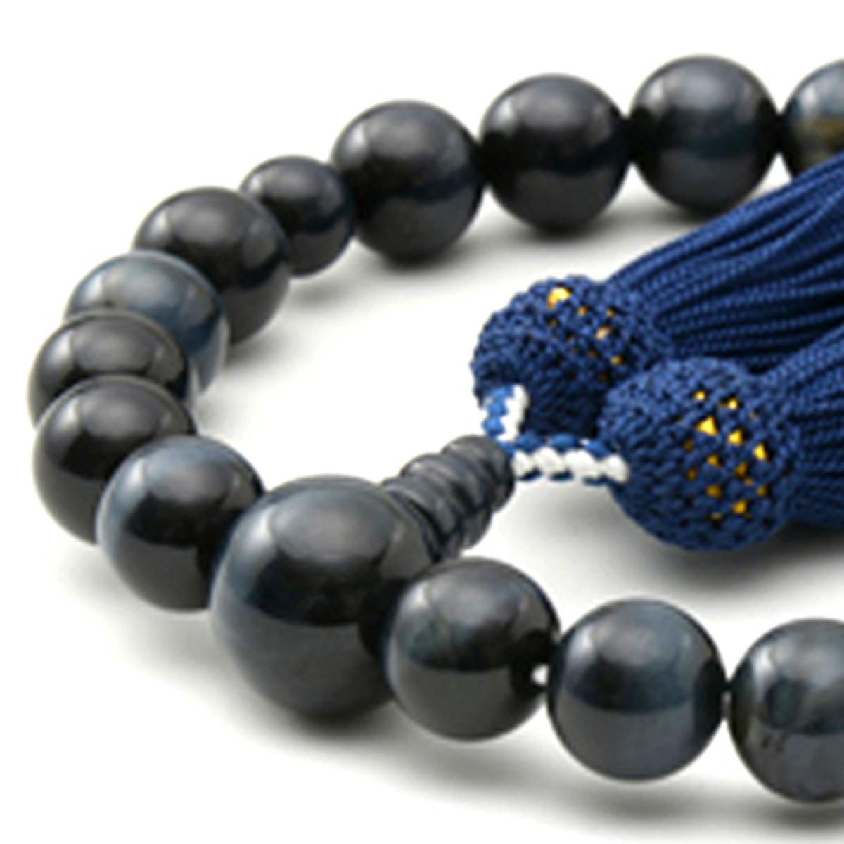 男性用 片手数珠 青虎眼石22玉 共仕立 正松房 日本製