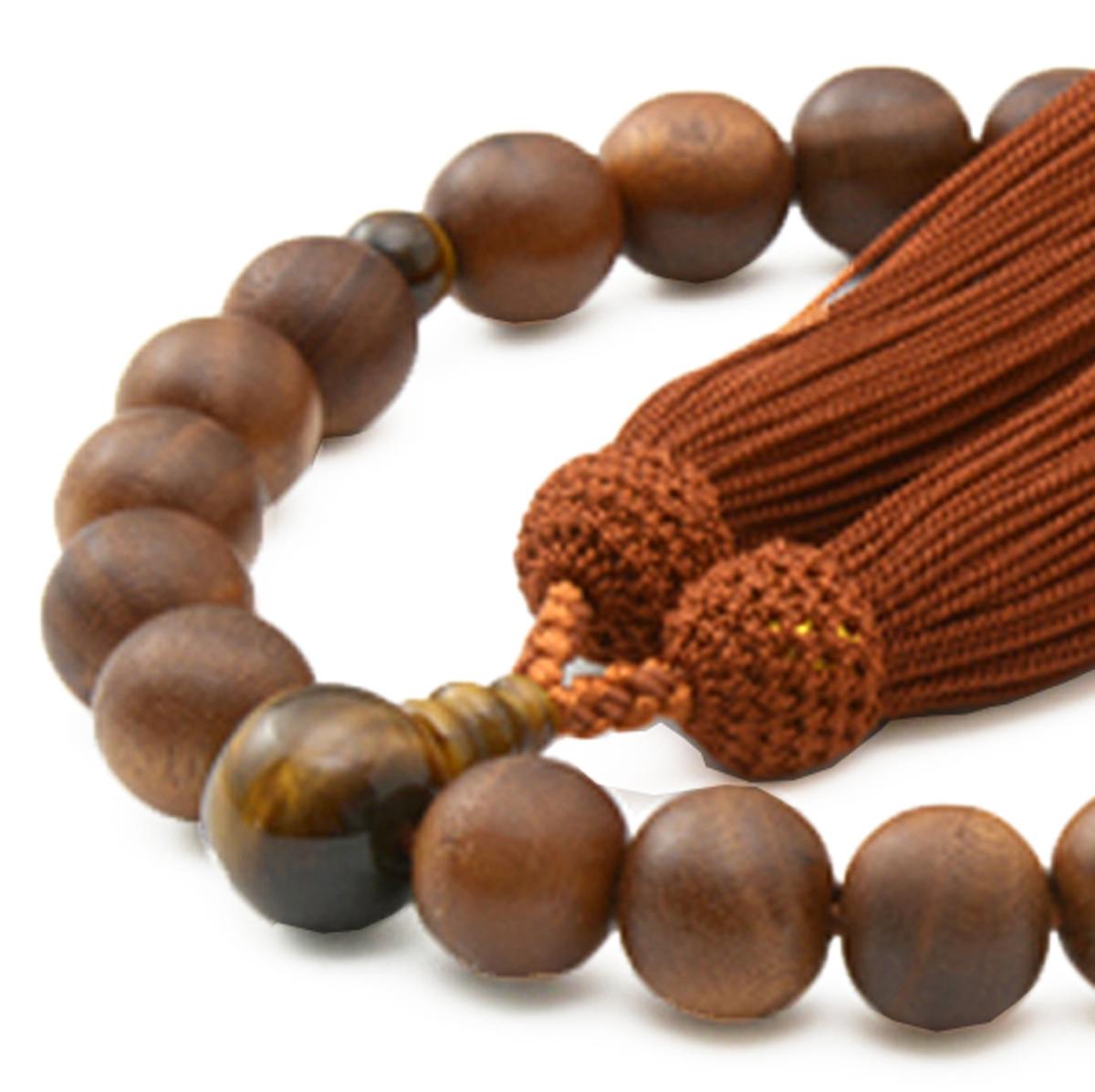 男性用 片手数珠 素引 本桑22玉 虎眼石 正松房 日本製