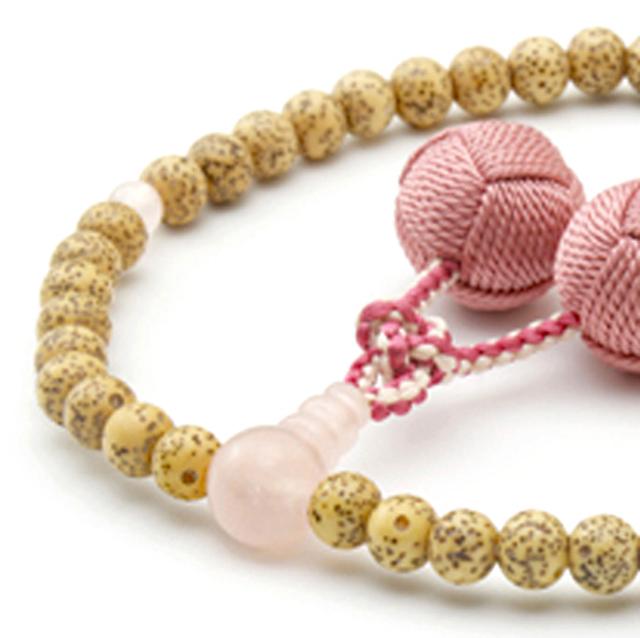 女性用数珠 天然星月菩提樹 ローズコーツ 釈迦梵天房