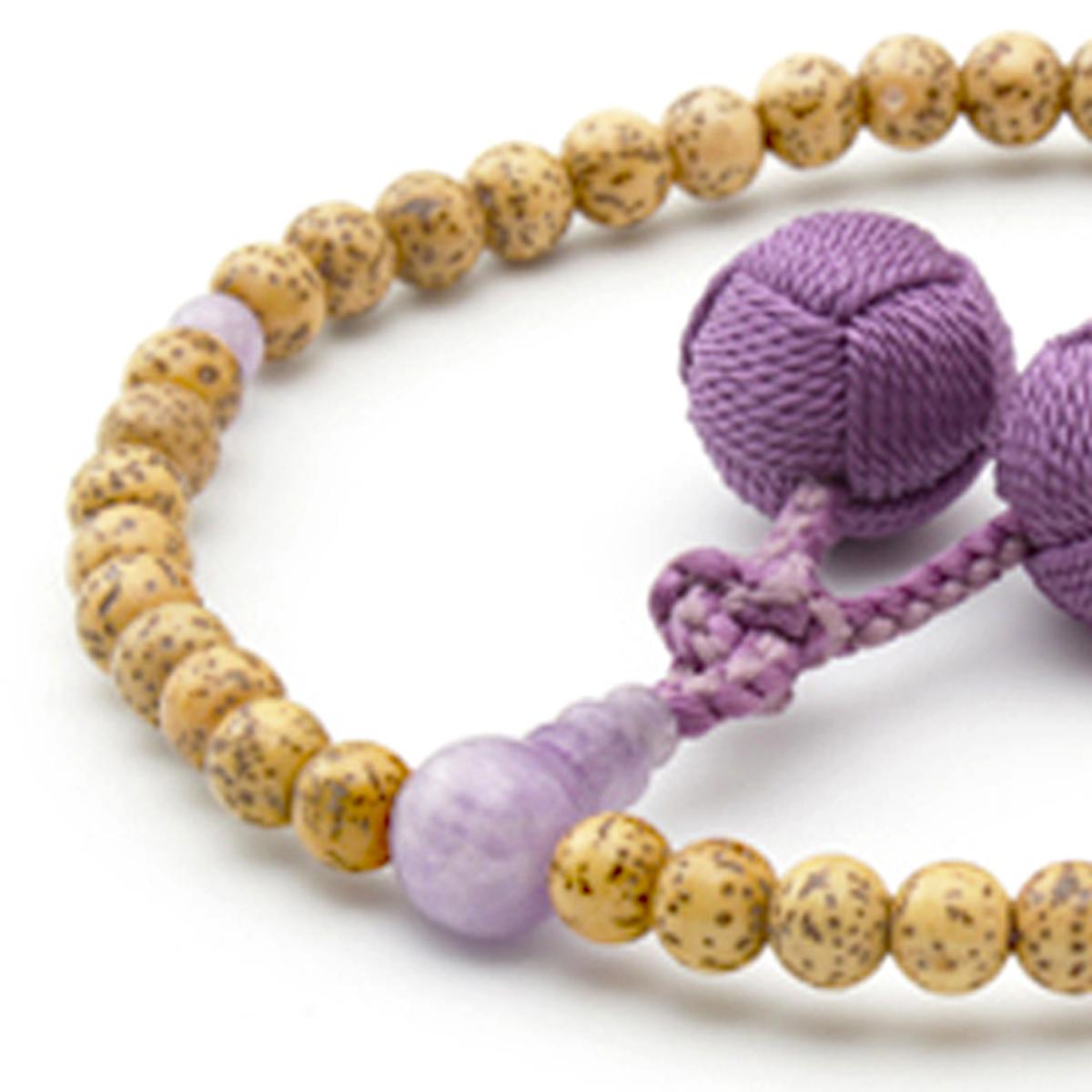 女性用数珠 天然星月菩提樹 ラベンダーアメジスト 釈迦梵天房