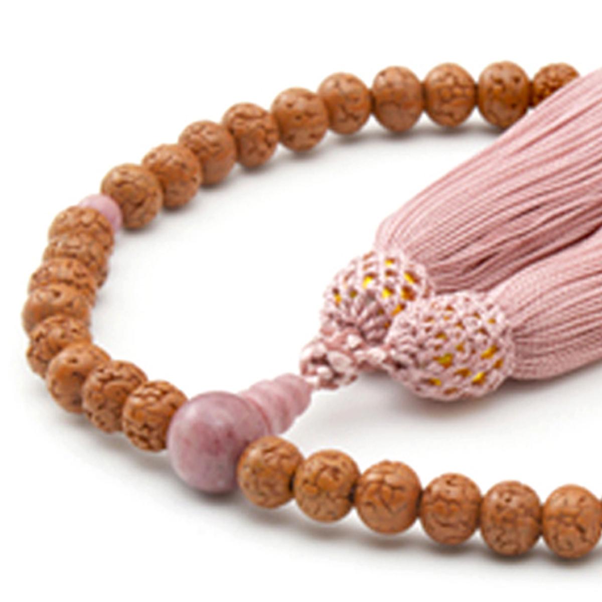 女性用数珠 金剛菩提樹 ピンクジャスパー 頭付弥勒房