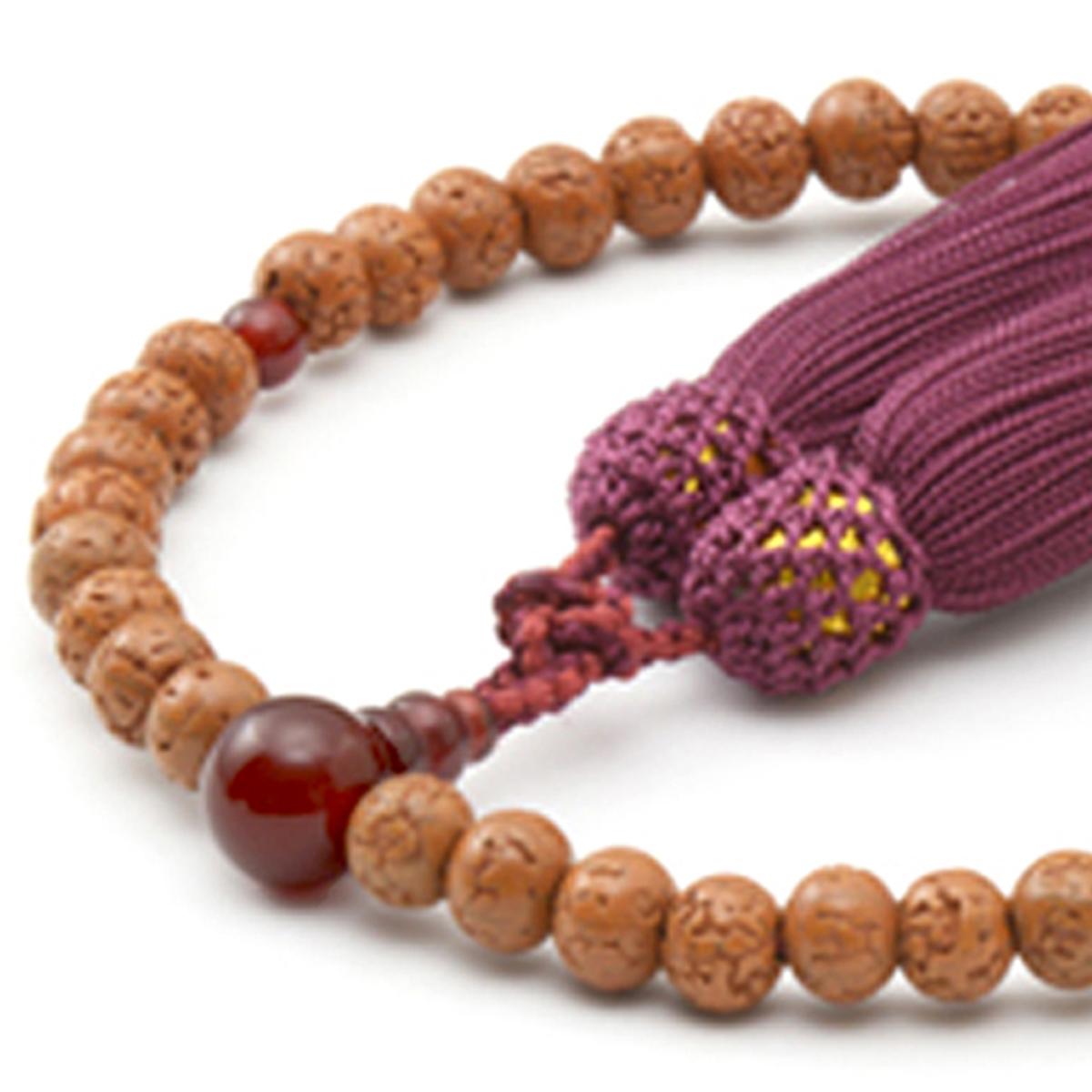 女性用数珠 金剛菩提樹 瑪瑙 頭付弥勒房