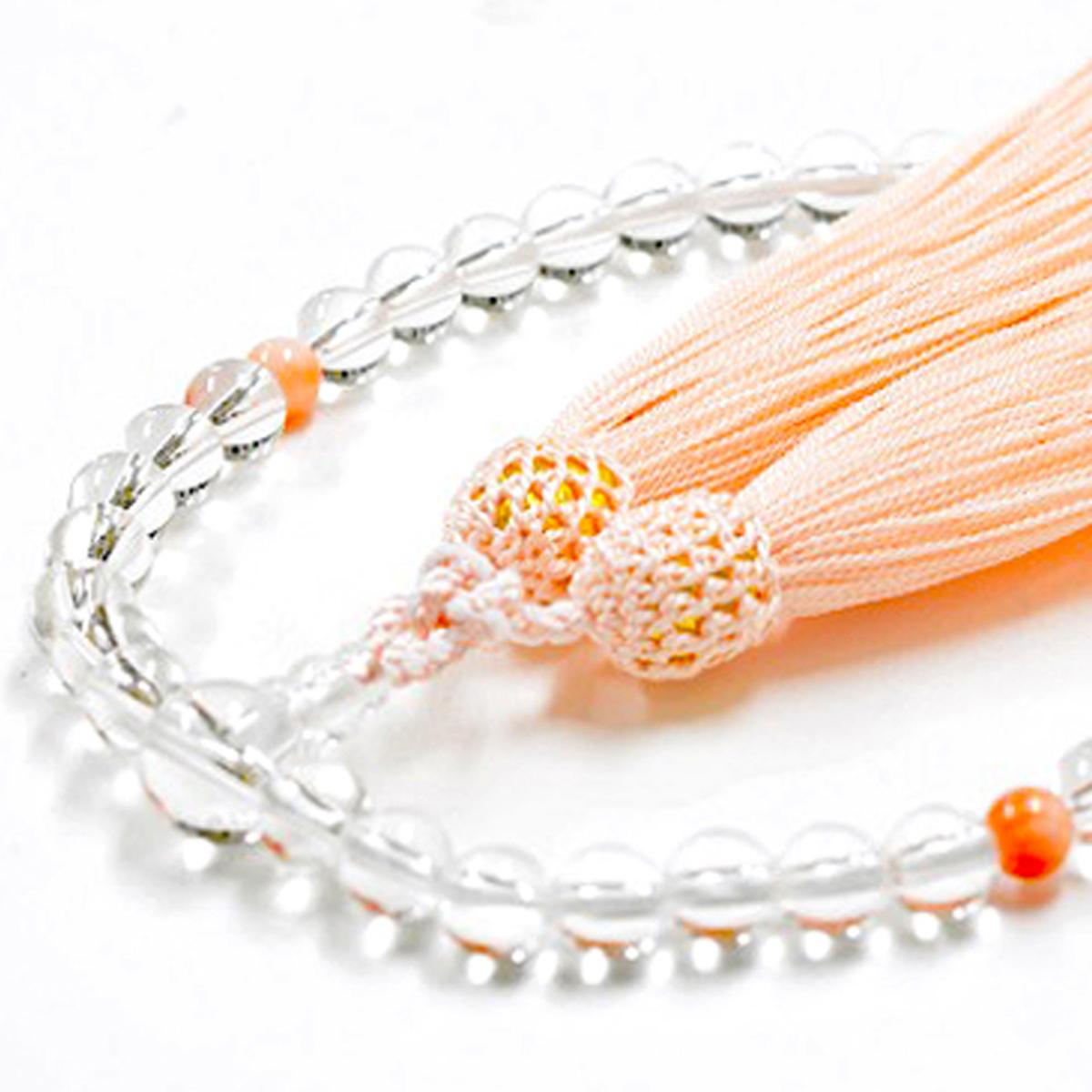 女性用数珠 天然水晶 本珊瑚 3月誕生石